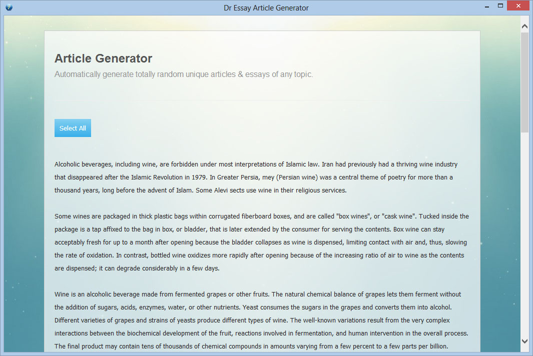 Article generator software article creator essay generation