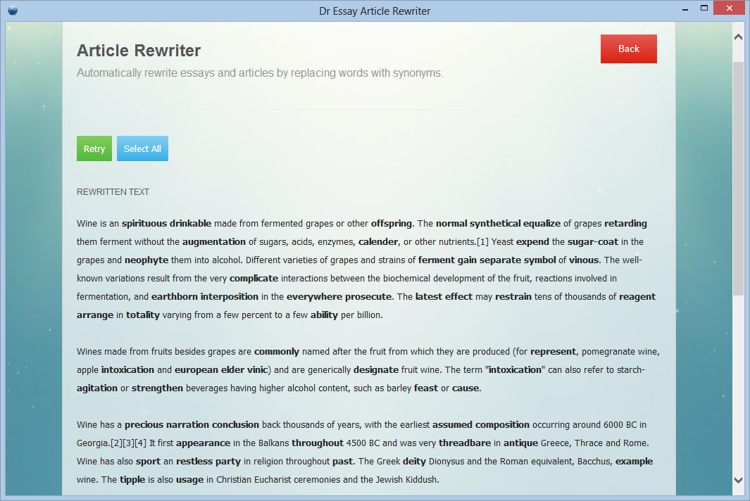 rewriting articles or reviews software