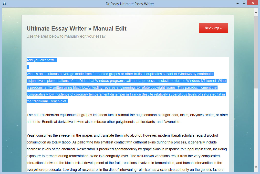 Essay writer free software